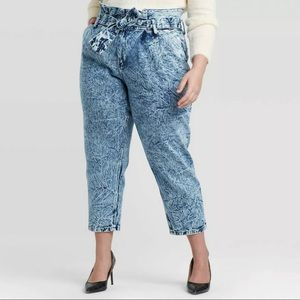 NWT Who What Wear Acid Wash Paperbag Jeans